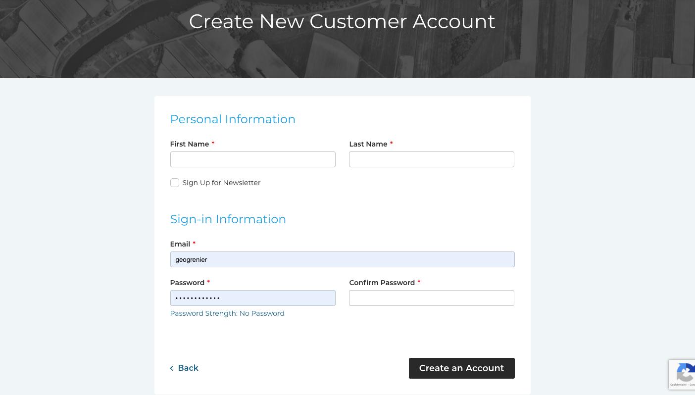 Create an account step 2
