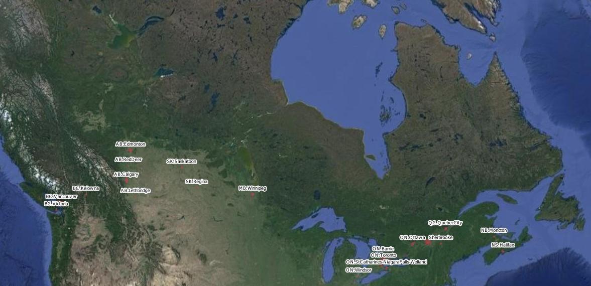 Couverture de Nearmap au Canada